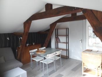 GITE LE PIANO 3 personnes : espace repas dans séjour 25 m2 au 1er étage orientation sud