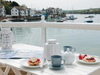Devonshire cream tea on the balcony