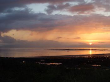 Sunset on Seamill Beach, looking north-west