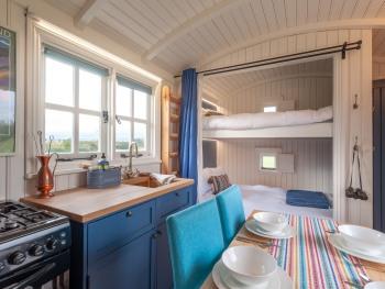 Interior of Demoiselle, our luxury shepherd's hut