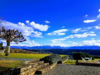 Views of the Pyrenees Atlantique from the grounds of Clos Mirabel