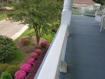 View of Gardens from balcony outside the Blue Guest Room