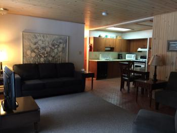 Unit 5 two bedroom suite with fireplace, kitchen, lakeview