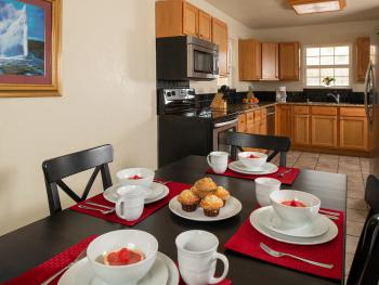 Chestnut chalets kitchen with eat in dining room.