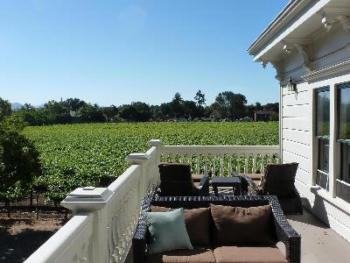 Guest balcony looking over the vineyard estate.