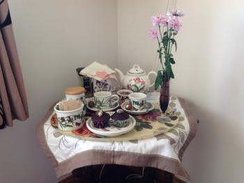 Home made cakes and breakfast are served on our Wedgwood,  Denby and Royal Doulton china collections