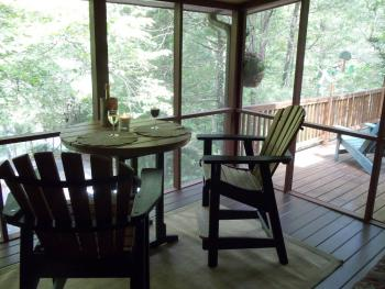 Tree Top Suite screened porch / sun room in winter
