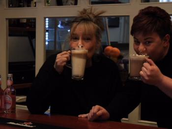 The lovely Lou and Emma enjoying one of our Hot Chocolates. Part of the team who will look after you.