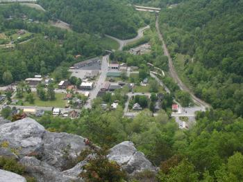 The view of the town of Cumberland Gap from the Pinnacle overlook.