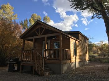 Cabin 6 was added in 2018, it is located by itself at the back of the park next to the creek - very private