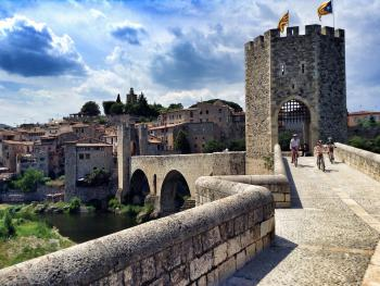 Ride through medieval Besalu, 5 miles from the hotel