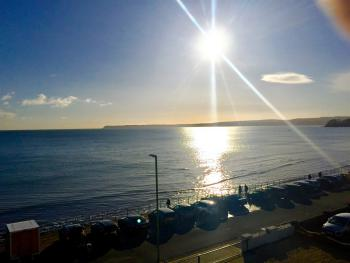 View from one of the 2nd Floor sea-view bedrooms of The Channel View Hotel, looking towards Paignton Beach.  Even the Winter sun is beautiful.