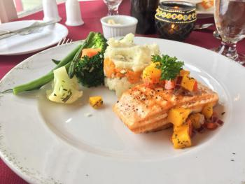 Seawind Landing Country Inn - maple glazed salmon with mango salsa