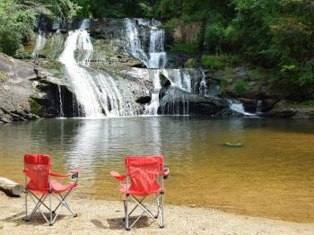 Our Waterfall Cottage is within sight & sound of Cane Creek Falls