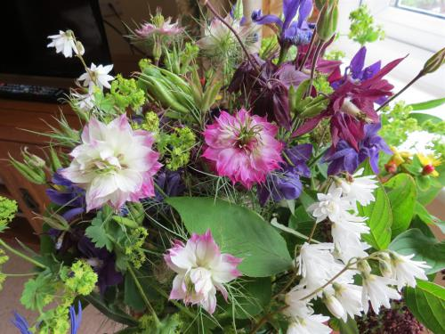Mixed flower display from the garden