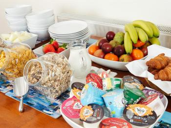 West country yoghurts, muesli and cereals, fresh fruit and croissants - lovely