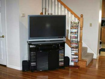 Flat screen TV and large selection of DVD's