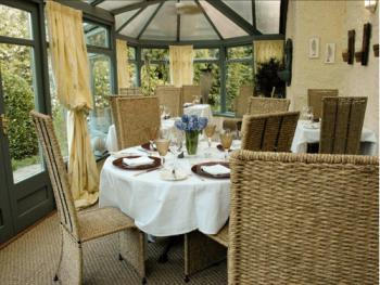 Breakfast is served in the light and airy conservatory
