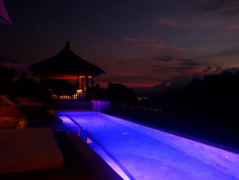 Pool View at Night from Main Patio
