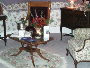 Guests are welcome to add our Romance Package to their stay.  $85.00 includes flowers, champagne (or sparkling juice), and chocolates placed in your room before you arrive.