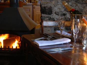 Romantic Dining next to the log fire
