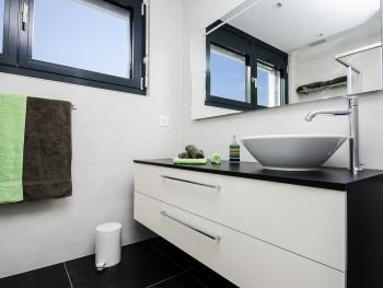 Une douche et un meuble lavabo pour cette salle de bain spacieuse