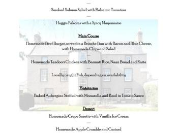 Dinner Menu - Please call in advance to check availability