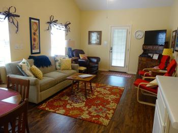 Texas Cottage Living Room with queen size sofa sleeper & flat screen TV