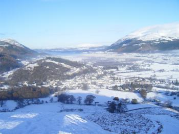 View of Braithwaite from Barrow in Winter