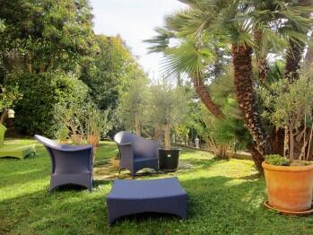 Salons de jardin à l'ombre des palmiers