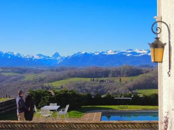 Snow capped mountains - Views of the Pyrenees Atlantique from the grounds of Clos Mirabel