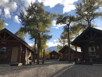 Cabins 1-5 are situated on the far side of Pine Creek in a secluded and quiet spot