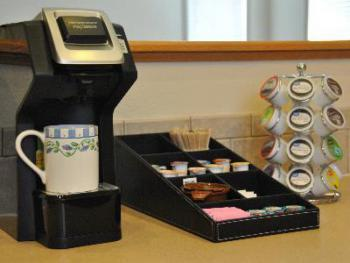 We have two self-serve hot drink stations at the Inn.