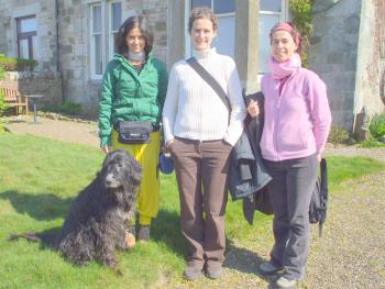 Laura, Maria and Aranta from Spain, with four-legged friend
