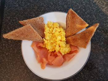 local smoked salmon and scrambled eggs