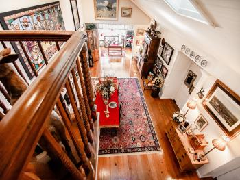 Looking Down into the DIning Room and Local Artisan Shoppe