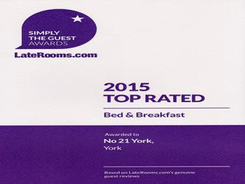 Awards - LateRooms.com 2015 - Top Rated B&B