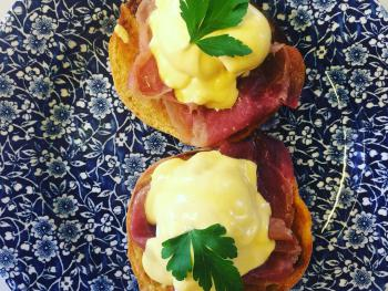 Eggs Benedict with bacon breakfast