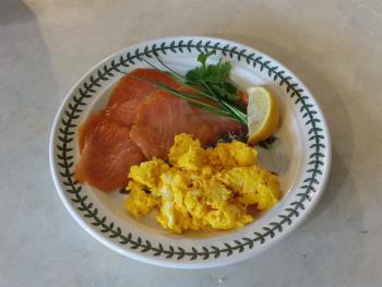 Smoked Salmon and our first scrambled Goose Egg!
