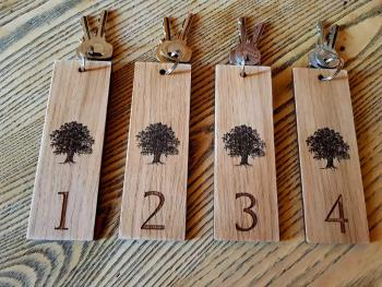 Our wonderful oak key fobs