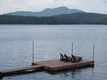 Journey's End Dock on Long Lake with view of Owl's Head Mountain
