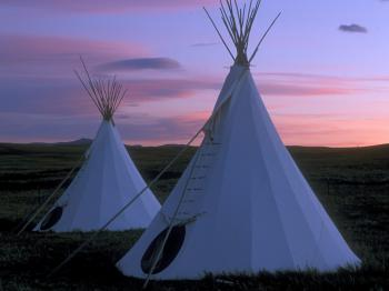 Sunset in tipi-camp