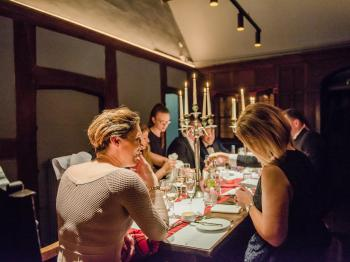 Our first floor oak panelled Private Dining Room is perfect for group dining