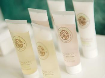 Our eco-friendly Envoque toiletries including bath and shower gel, shampoo and conditioner, soap and shower caps