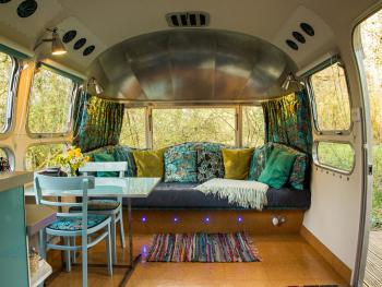 American Airstream Caravan sofa and dining area