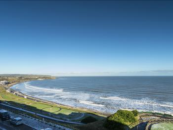 View from our sea view rooms of the North Bay and coastline to the north