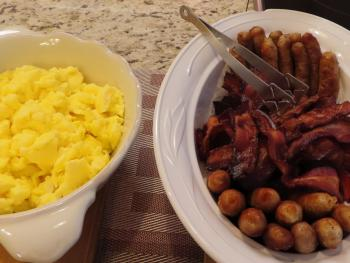 Bacon, Sausage and Scrambled eggs - full breakfast Saturday and Sunday