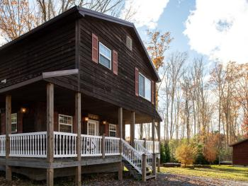 Dogwood chalets wood exterior gives you a cabin feel with modern amenities on the inside.