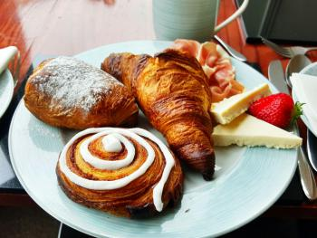 """The Continental"" - Home-baked Croissant, Pain aux Chocolat and Danish Pastry with Serrano Ham & Wensleydaye Cheese"