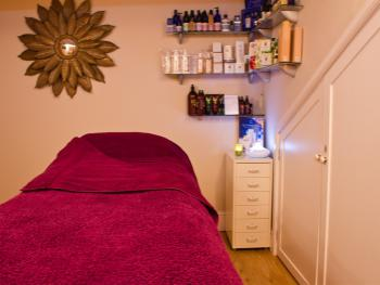 Our cosy treatment room.  Beauty & Massage Therapies at The Garden Room